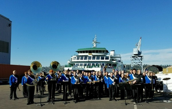 The Chimacum High School Band was invited to play at the dedication of the Ferry Chimacum.  The dedication took place on Wednesday, September 14, 2016.