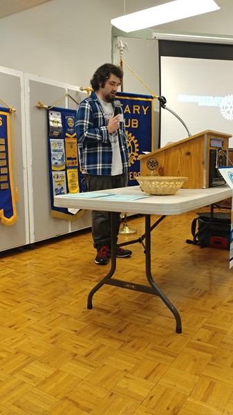CHS Student of the Month, Braden Coleman, speaks to Rotary 11/29/18