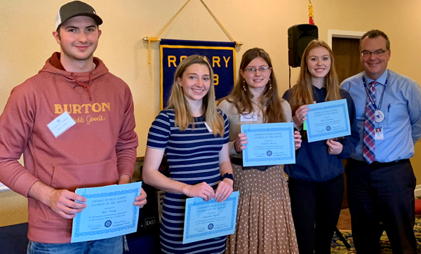 CHS October 2019 Student of the Month was recognized at Rotary