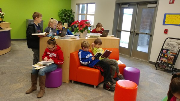 Elementary students enjoying the new CES Library 12-11-19