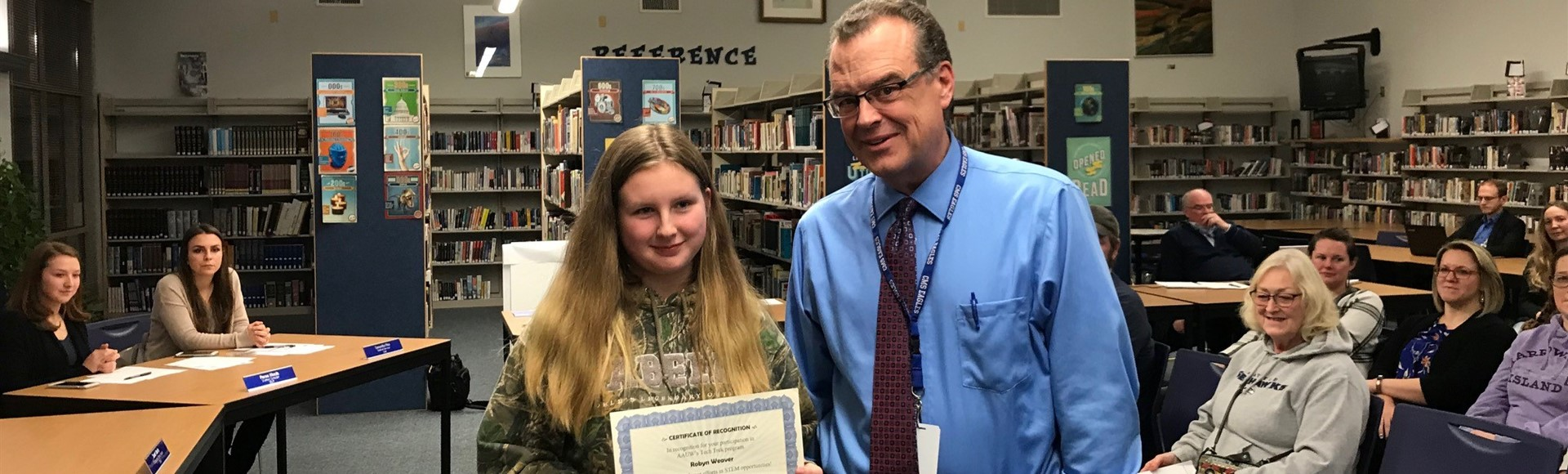 CMS Student recognized by Principal David Carthum for AAUW Tech Trek Participation