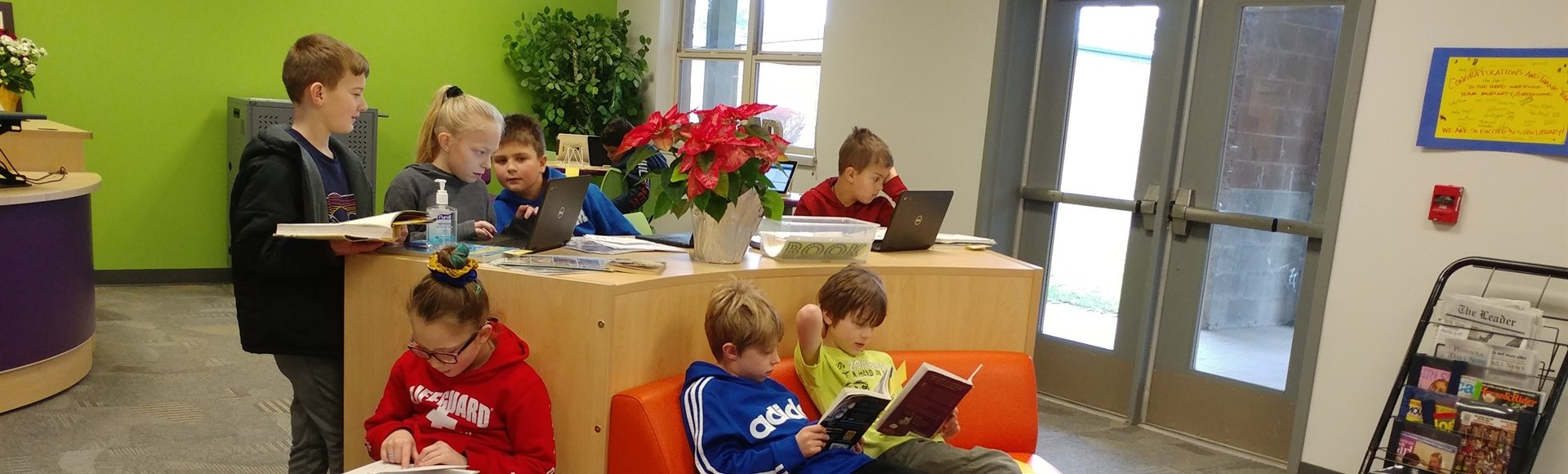 Elementary Students in new CES Library December 2019