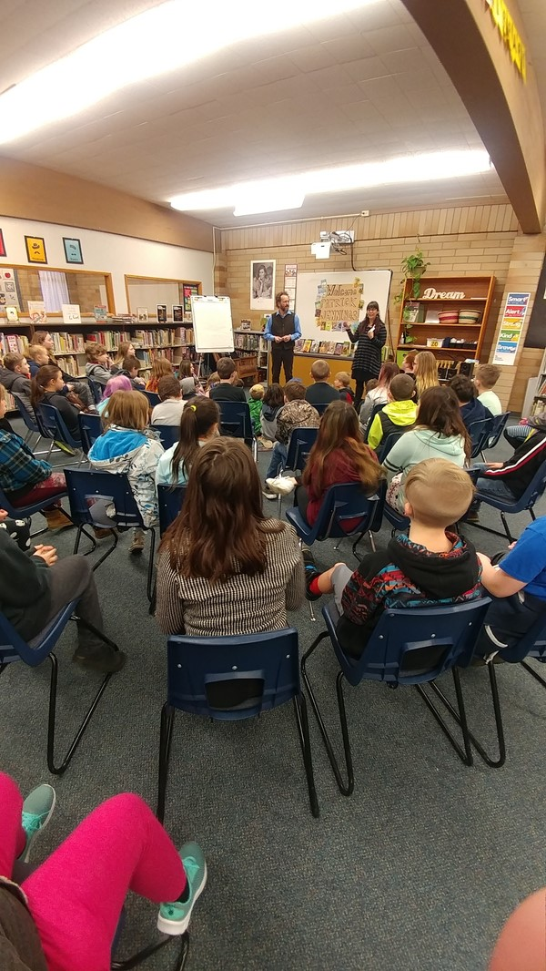 Local author Patrick Jennings presented to Chimacum Elementary on January 2019