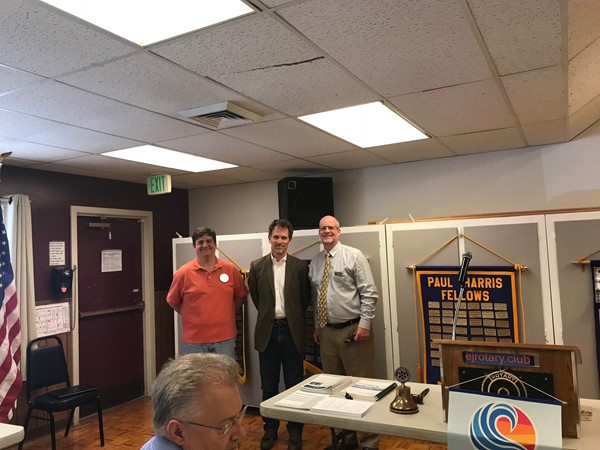 Mike Gould and Rick Thompson speaking about the levy at Rotary 7-26-18.