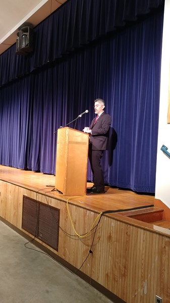 """Washington State Supreme Court Justice Steven C. Gonzalez addressed questions about the court and took answers from Chimacum High School students and faculty.  We thank him for being available to our students to learn more about the legal profession, how our court system works, and his own career in law."""
